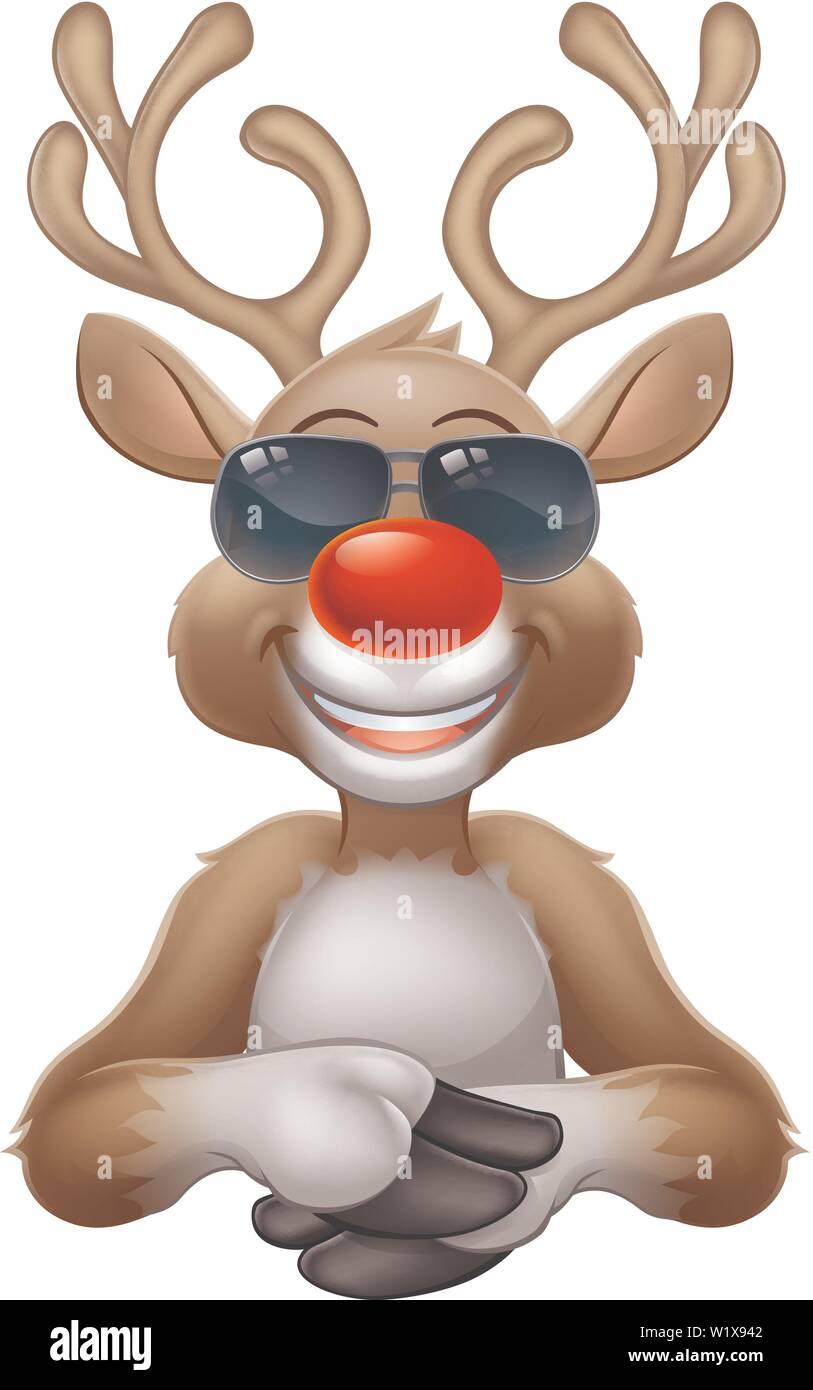 Cool Christmas Reindeer Cartoon Deer in Sunglasses - Stock Image