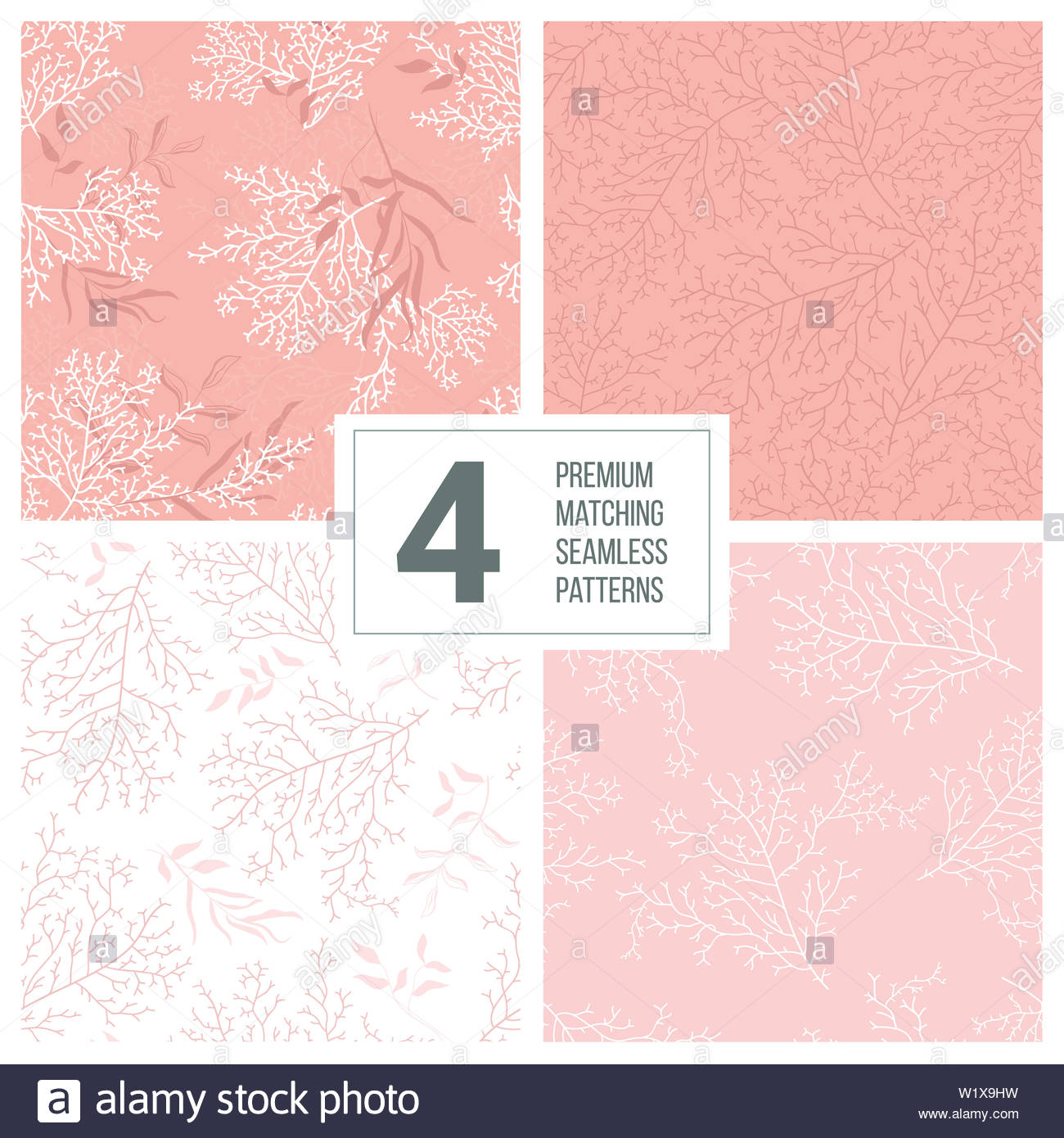 Set Of Four Matching Seamless Coral Patterns Great For