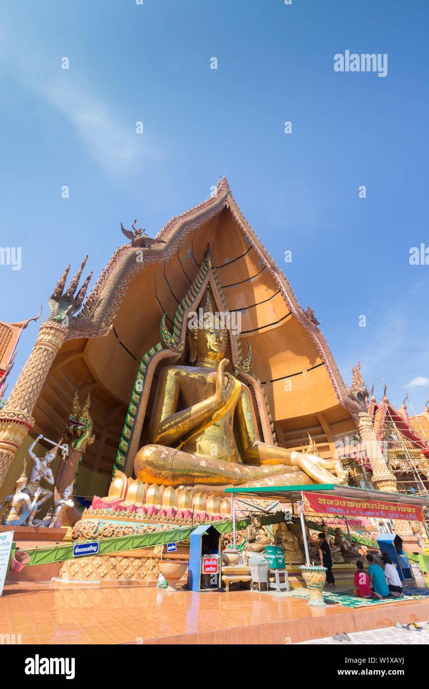 Big Buddha statue at Wat Tham Sua temple, Kanchanaburi province, Thailand - Stock Image