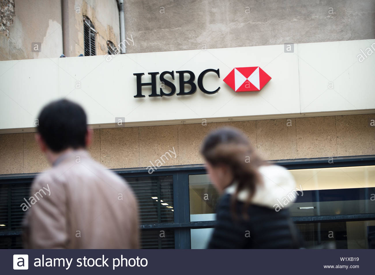 Sign of a bank branch belonging to HSBC - Stock Image