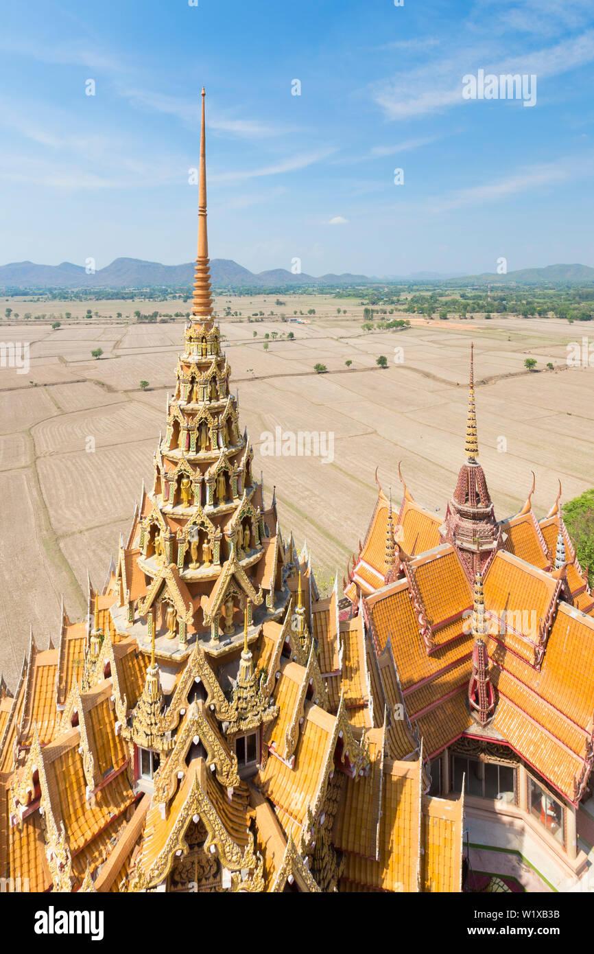 Tiger cave temple or Wat tham sua temple complex near Kanchanaburi, Thailand - Stock Image
