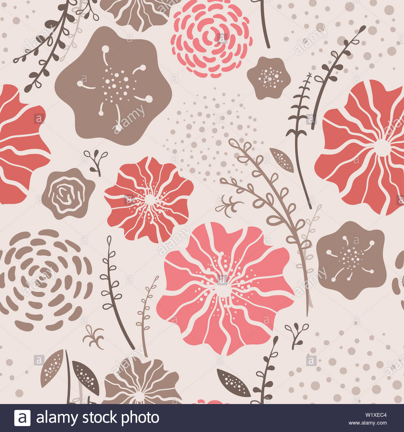 52d43c87d2a50 Beautiful Floral seamless pattern with trend color coral - repeat ...