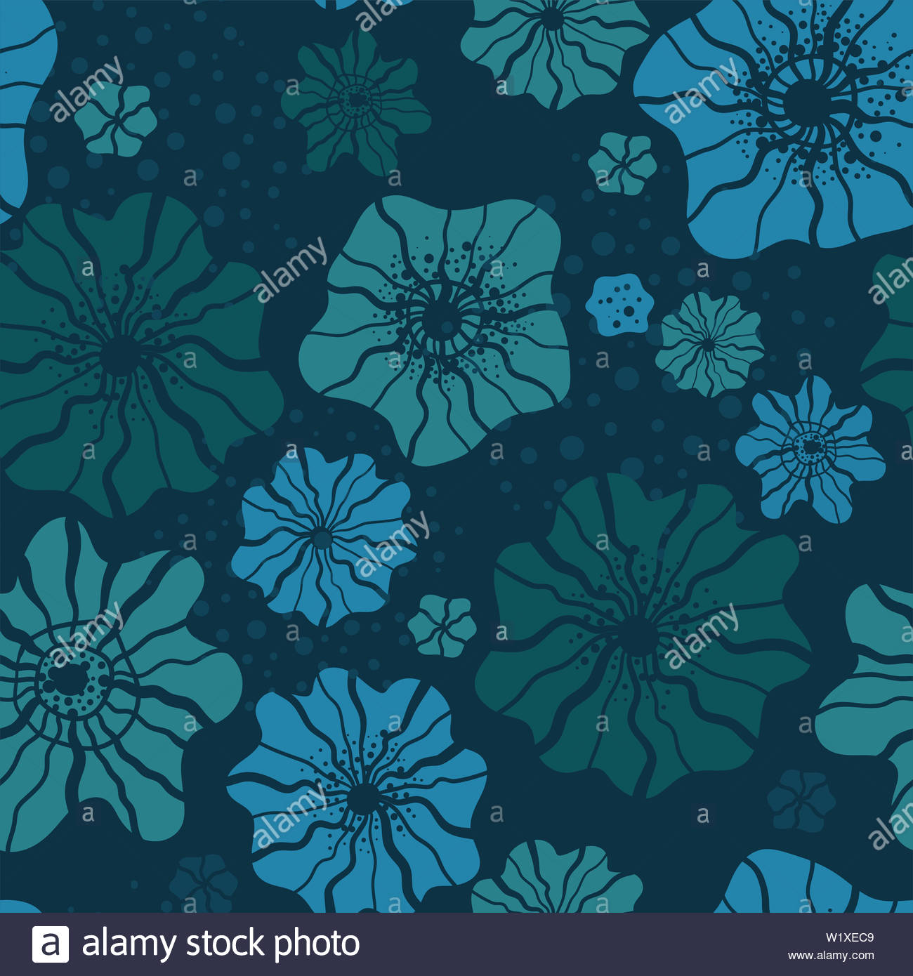 Under Water Seamless Pattern Blue Floral Repeat Background