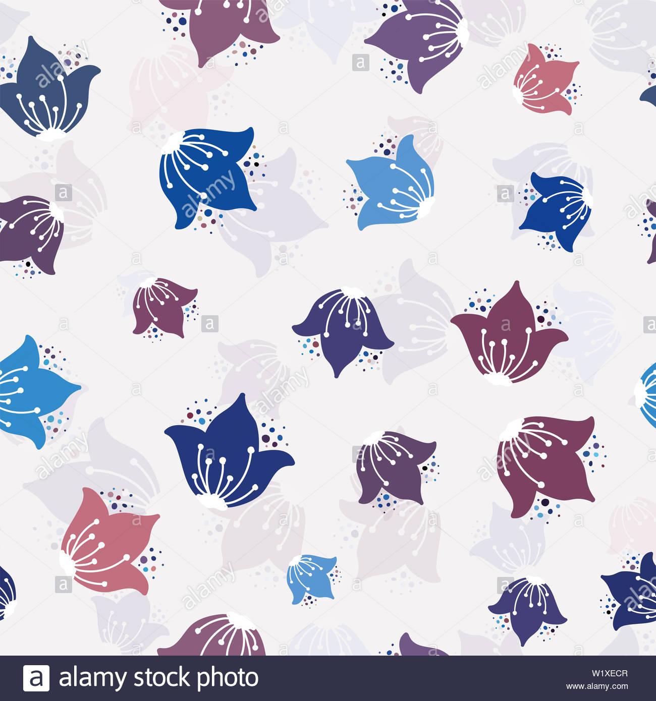 Childish Burgundy Blue Flowers Seamless Pattern Background