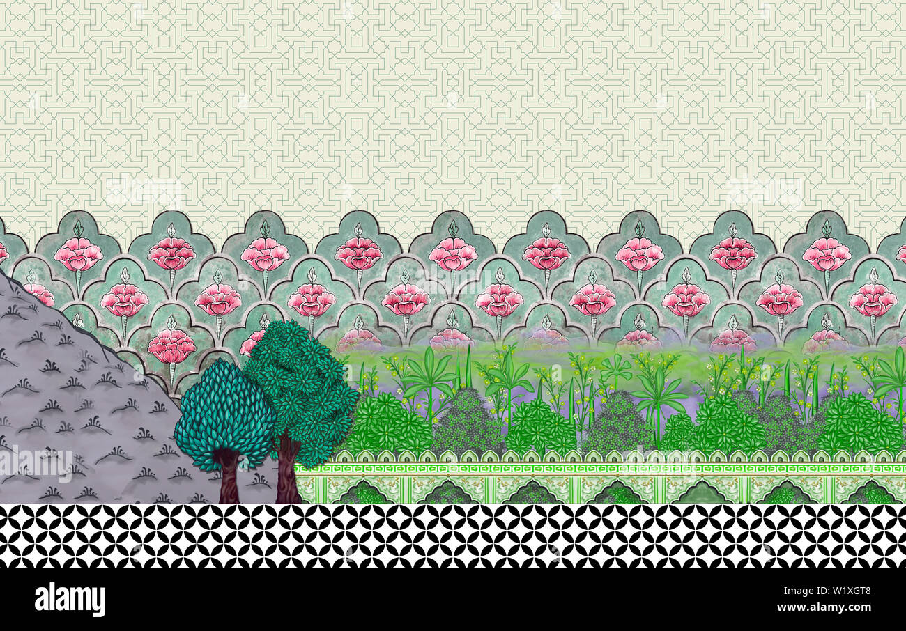 Mughal Garden wall and plants tree for textile print and
