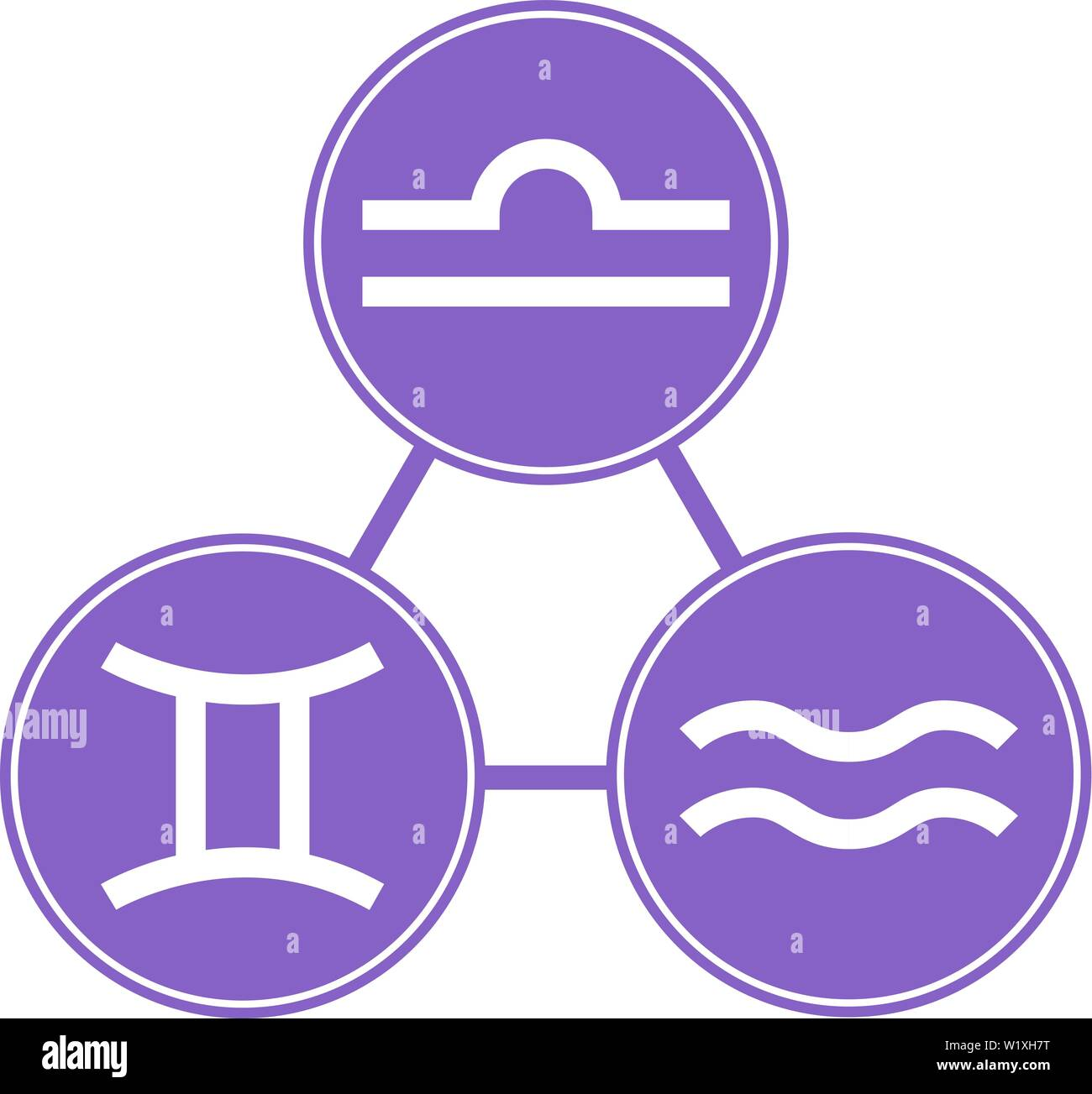 Aquarius, Gemini, Libra Icons  Vector Astrological