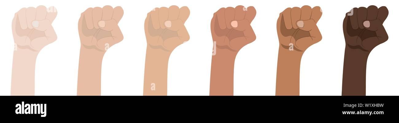 Raised Fists isolated on white background  Symbol of Unity