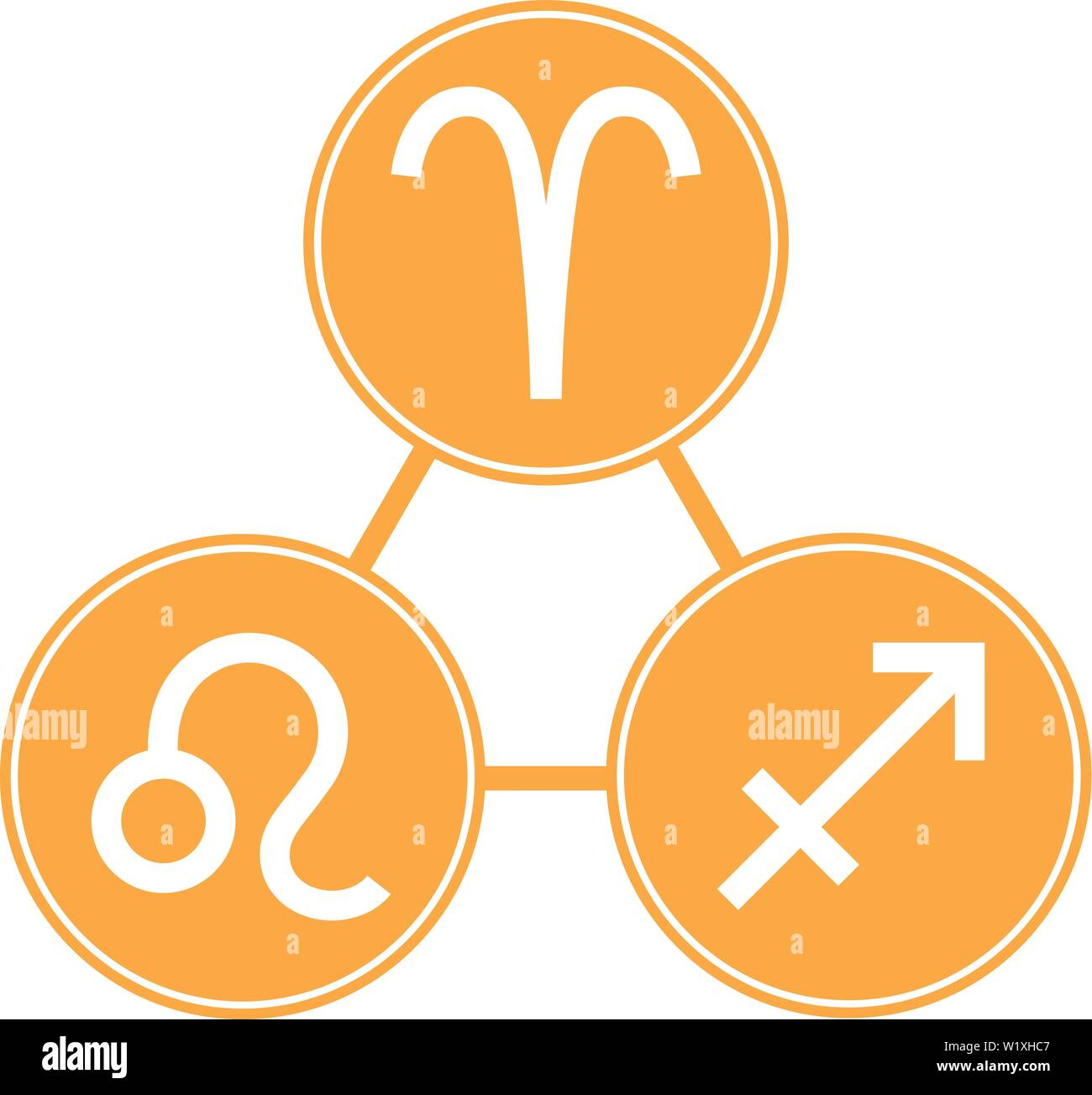 Aries, Sagittarius, Leo Icons  Vector Astrological