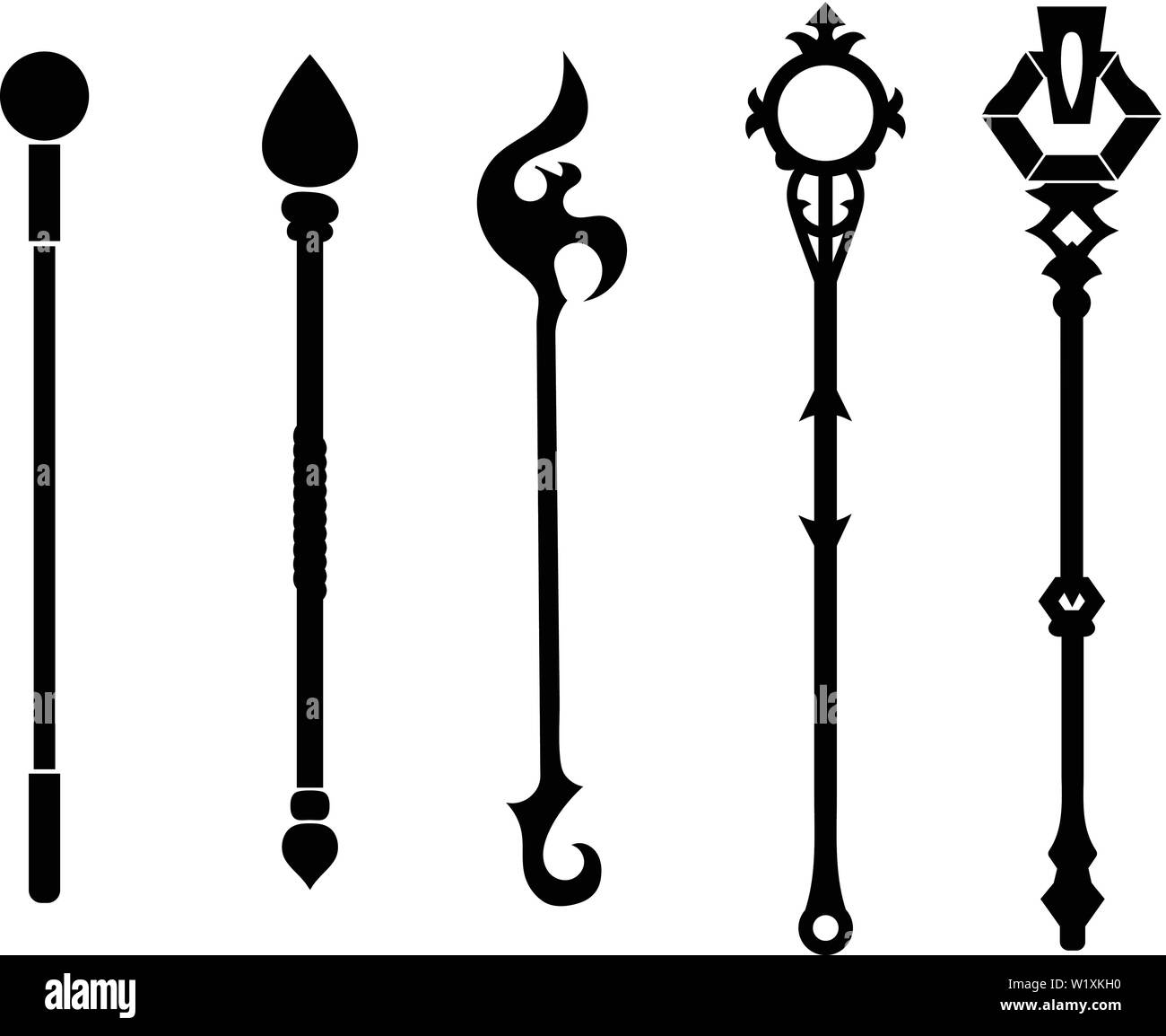 Set of Black Silhouette Staff Icons isolated on white