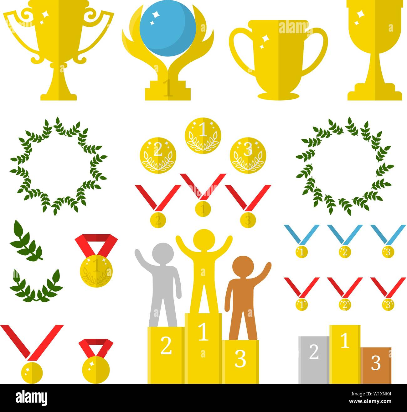 Vector Collection of Golden Sport Awards Flat Icons of