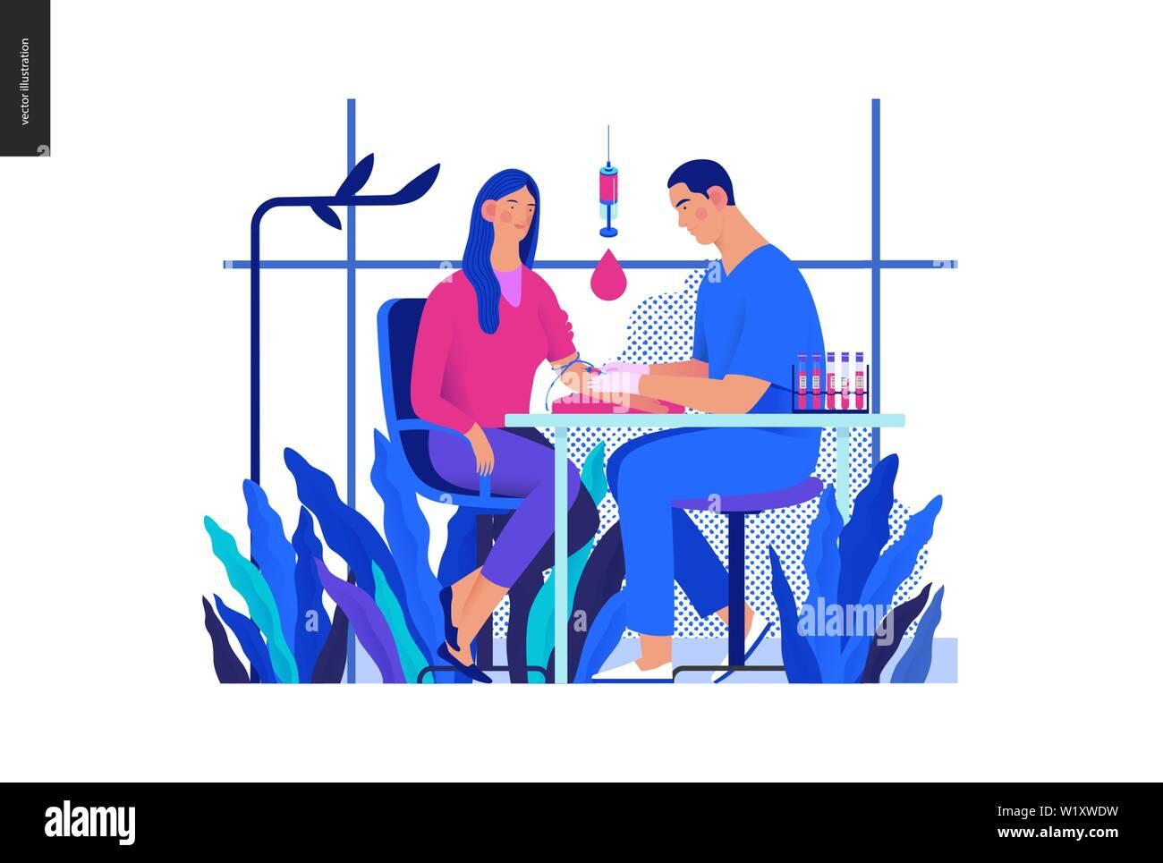 Medical tests Blue illustration - blood test - modern flat vector concept digital illustration of blood test procedure - patient and doctor with syrin Stock Vector