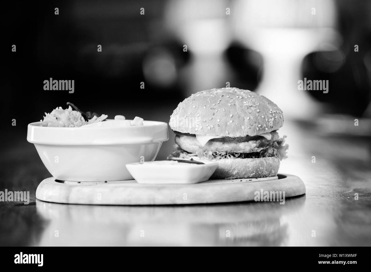 Burger and fries black and white stock photos images alamy