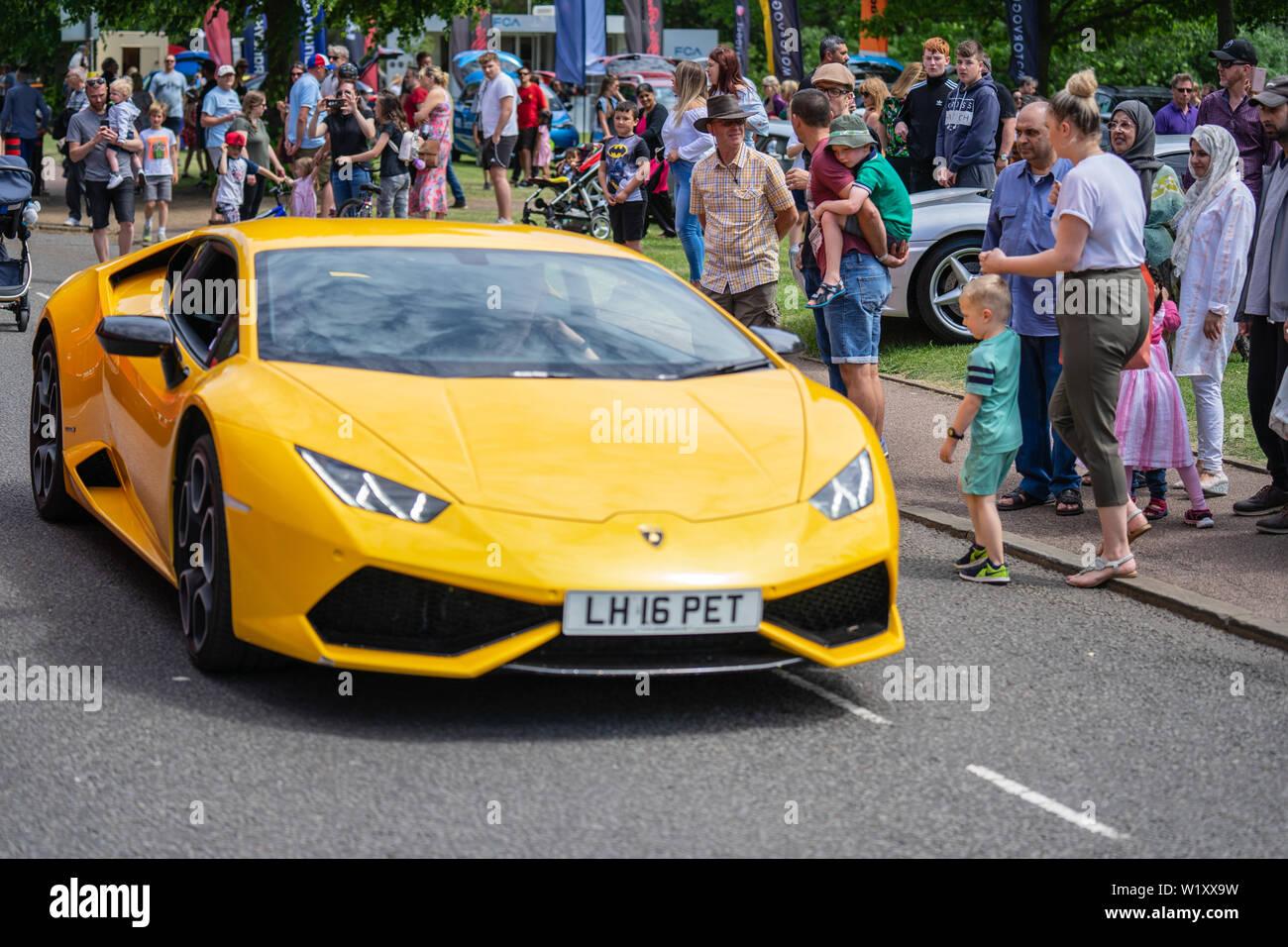 Bedford, Bedfordshire, UK. June 2, 2019. Fragment of yellow lamborghini Stock Photo