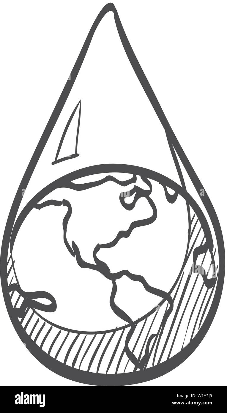 Earth water drop icon in doodle sketch lines climate change