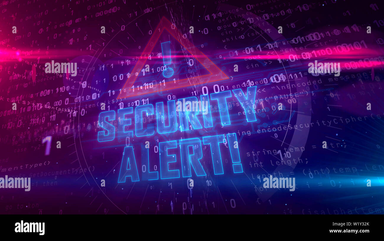 Security alert hologram intro on dynamic background. Modern and futuristic concept of cyber attack, computer security, warning sign and digital protec - Stock Image