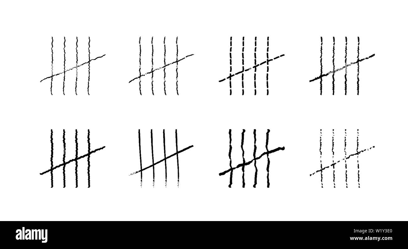 Prison symbols, Jail tally marks. Hand drawn Lines or sticks, strokes sorted by four and crossed out. Vector symbols. - Stock Image