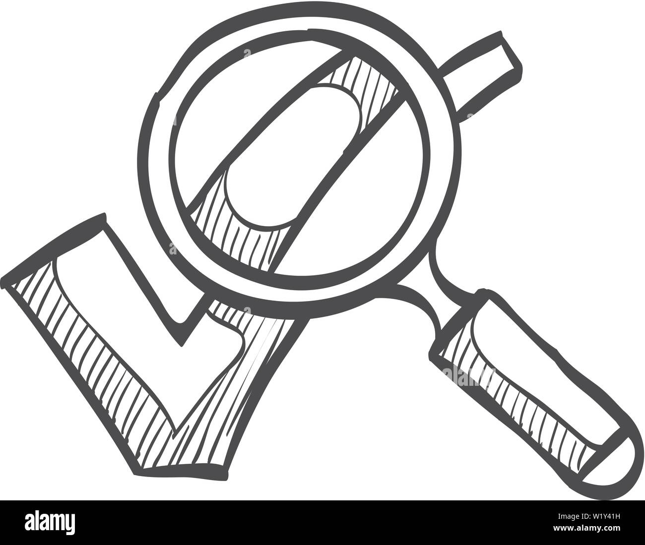 Magnifier check mark icon in doodle sketch lines. Zoom find locate approved decisions voting - Stock Image
