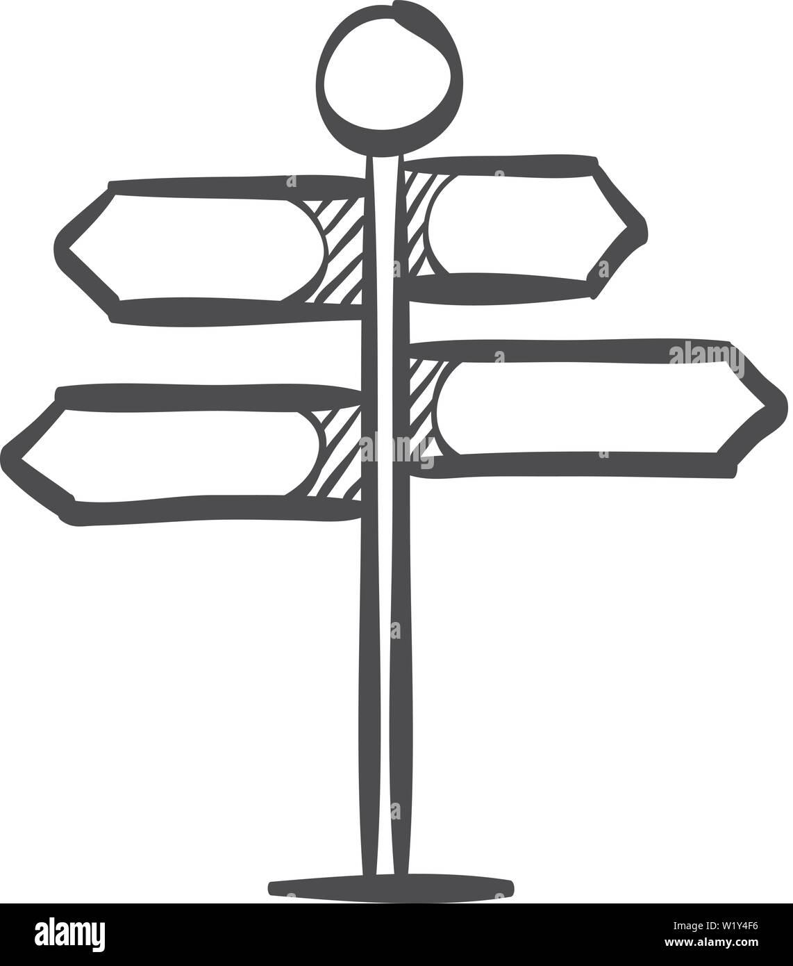 Road sign post icon in doodle sketch lines. Travel destination journey holiday - Stock Image