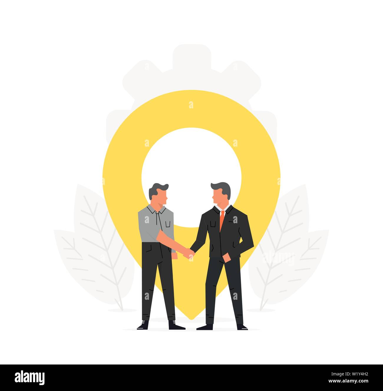 Businessmen make a contract before map pointer. Navigation, delivery, office location concept. Meeting place illustration design - Stock Vector