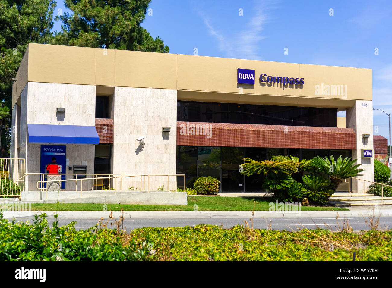 July 1, 2019 Sunnyvale / CA / USA - BBVA Compass Bancshares, Inc. (a bank holding company) branch close to downtown Sunnyvale, South San Francisco bay - Stock Image