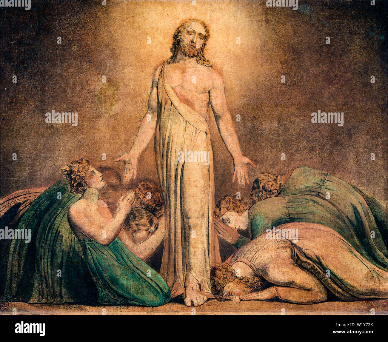 William Blake, Christ Appearing to the Apostles after the Resurrection, painting, 1795-1805 - Stock Image