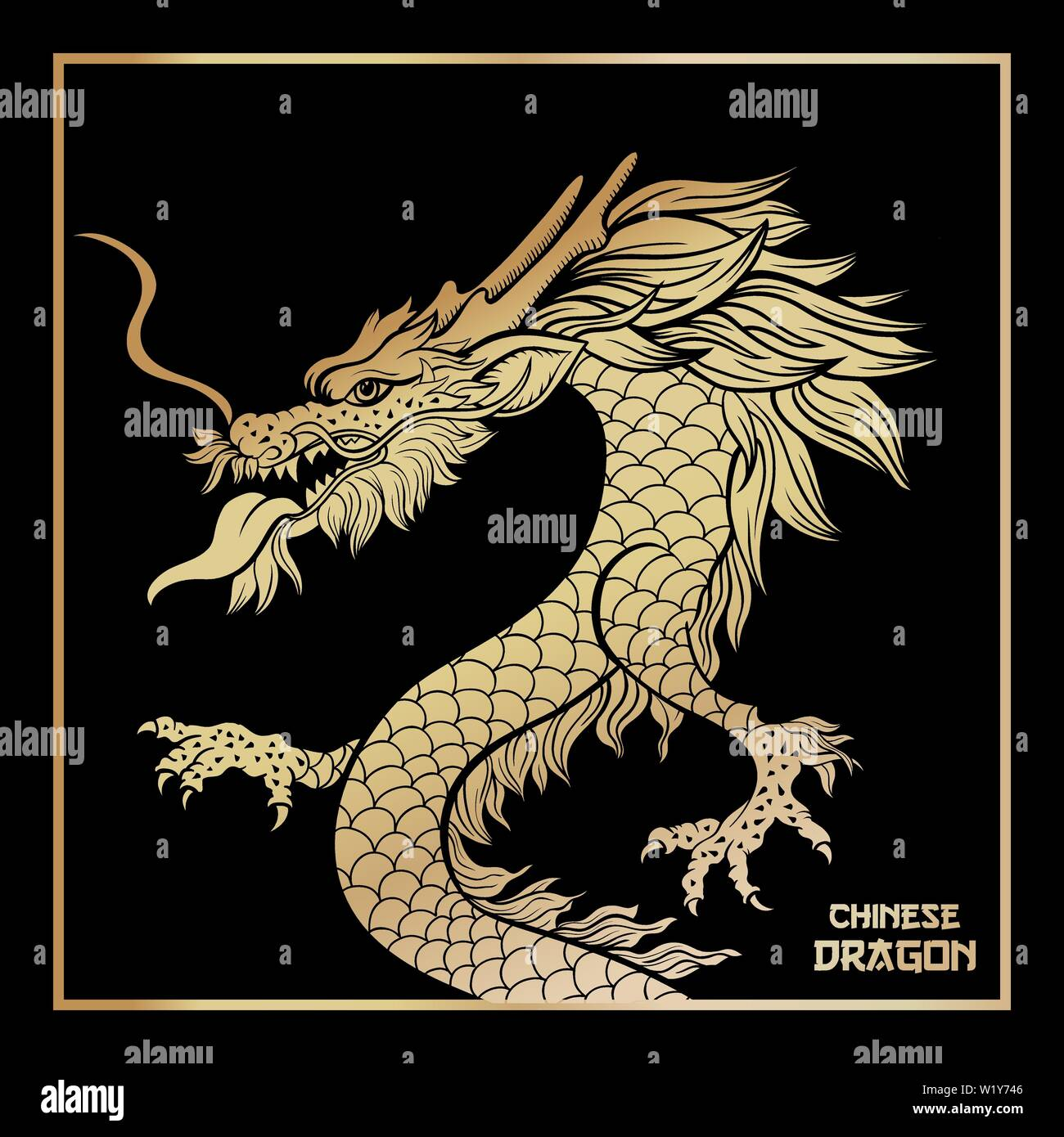 Black Background Chinese Dragon High Resolution Stock Photography And Images Alamy