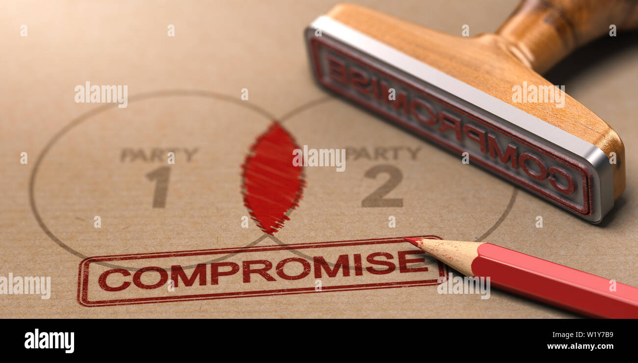 3D illustration of a rubber stamp with the word compromise printed on a brown paper with the text party one and two - Stock Image