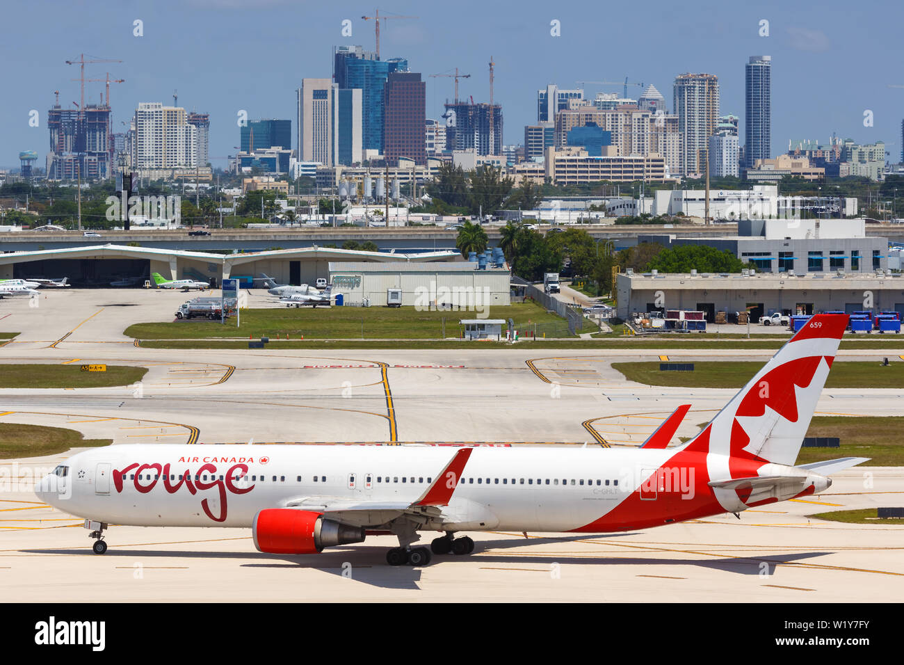 Fort Lauderdale, Florida – April 6, 2019: Air Canada Rouge Boeing 767-300ER airplane at Fort Lauderdale airport (FLL) in the United States. Stock Photo