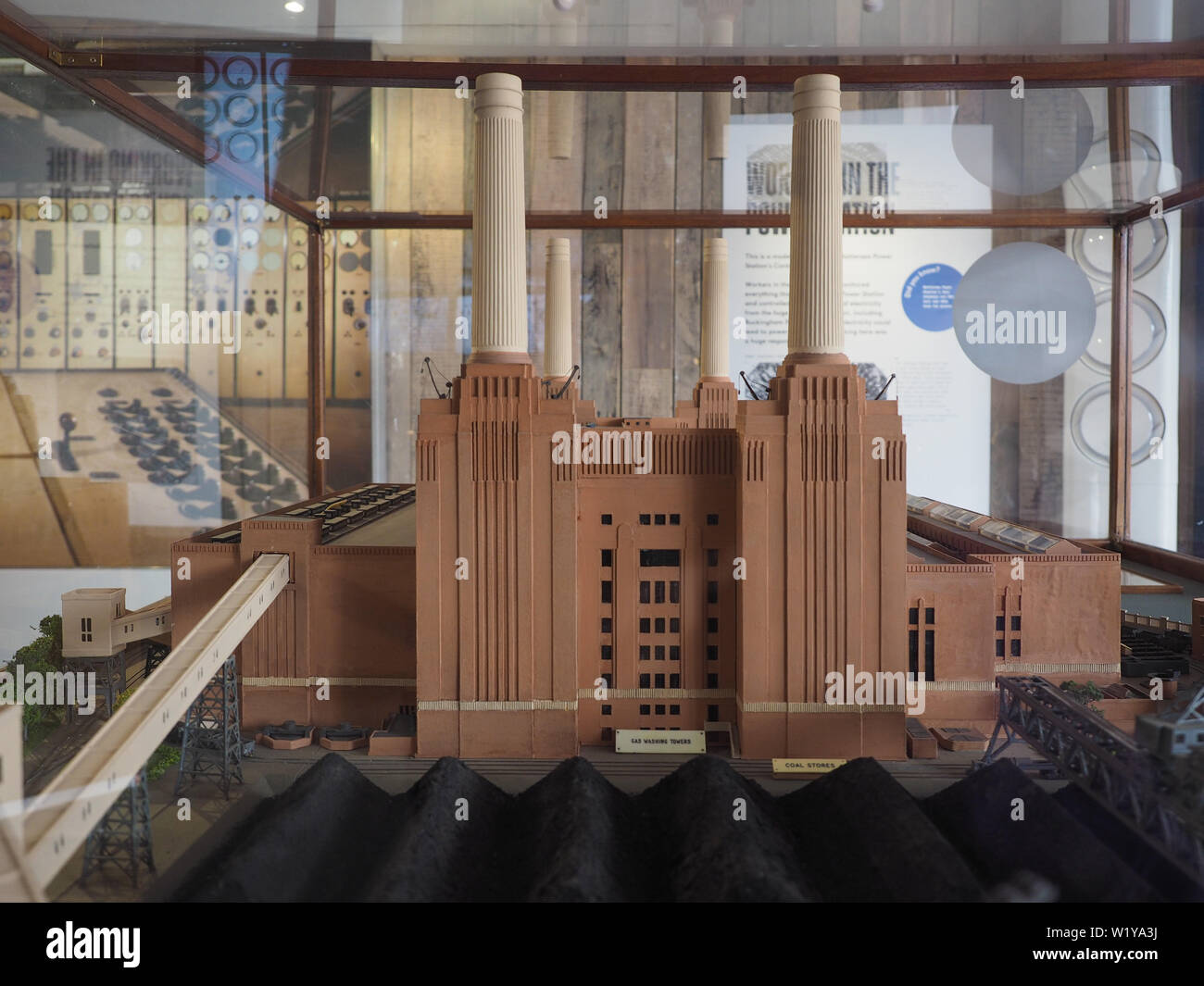 LONDON, UK - CIRCA JUNE 2019: 3D model of the Battersea Power Station at Circus West free exhibition - Stock Image