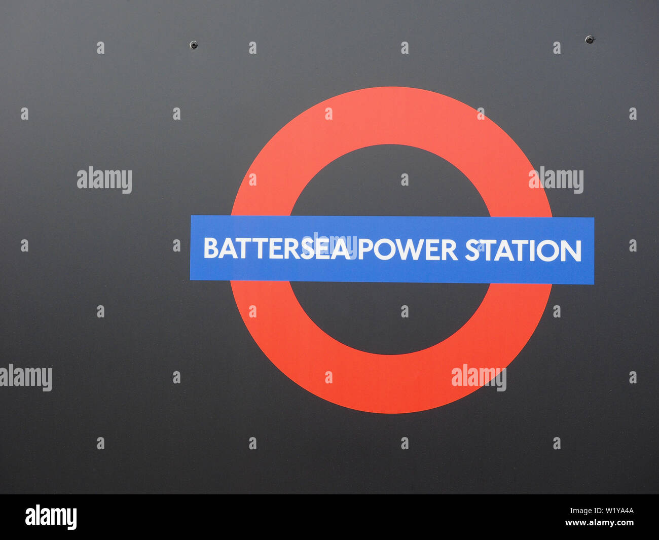 LONDON, UK - CIRCA JUNE 2019: Sign at new Battersea Power Station underground station on the Northern Line - Stock Image
