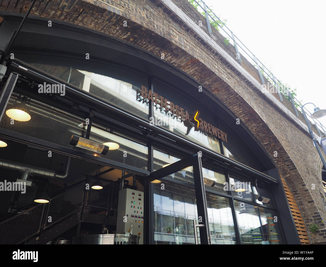 LONDON, UK - CIRCA JUNE 2019: Battersea Brewery at Circus West village at Battersea Power Station - Stock Image