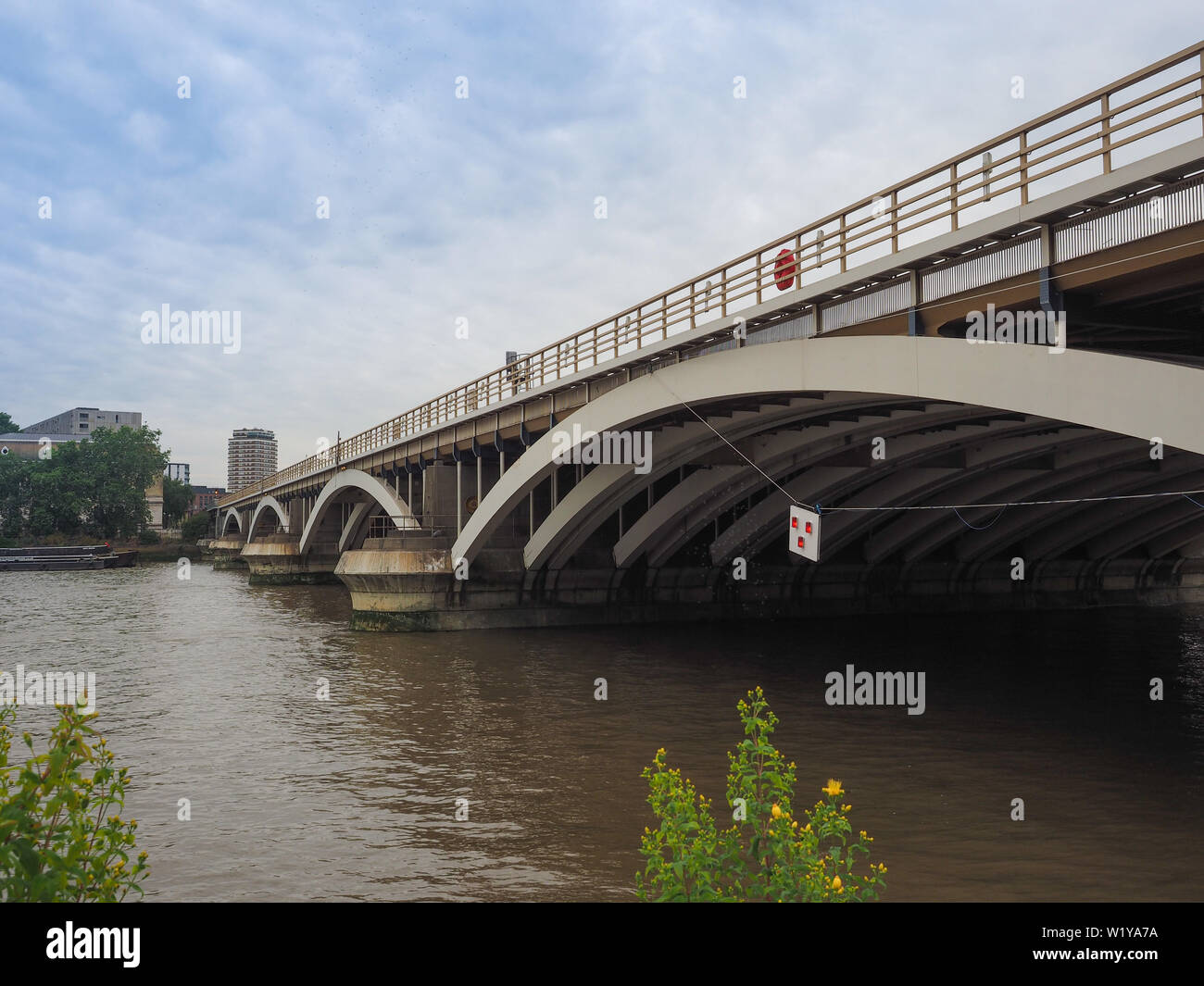 Panoramic view of River Thames in Chelsea, London, UK - Stock Image