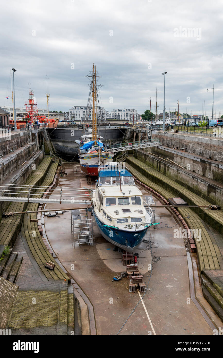 ship in the only working drydock in holland called Jan Blanken droogdok - Stock Image