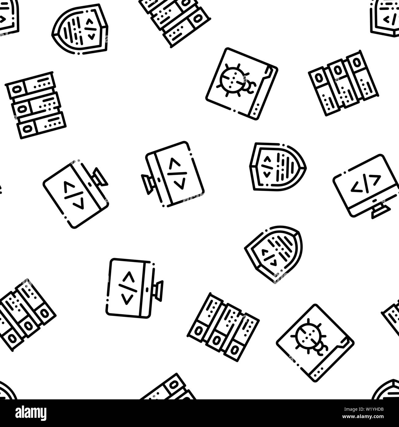 Coding System Vector Seamless Pattern - Stock Image