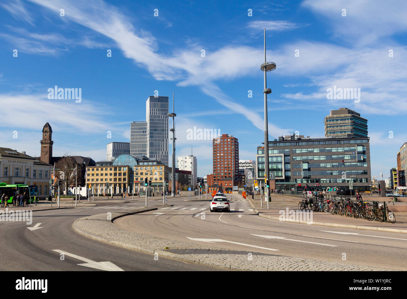 Street view and modern architecture in Malmo, the third largest city in Sweden Stock Photo