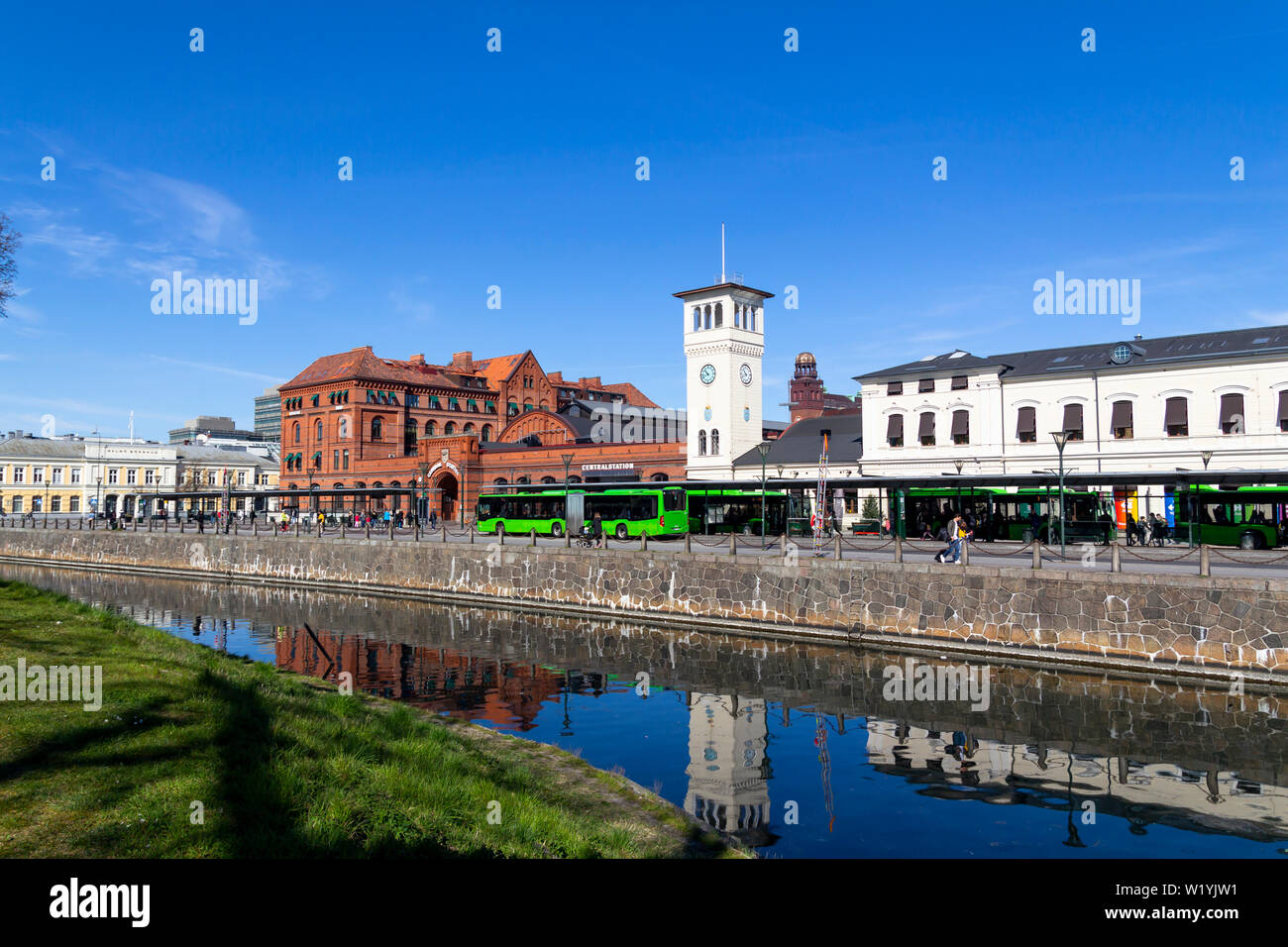 Water canal next to the central Station in the city of Malmo, the third largest city in Sweden Stock Photo