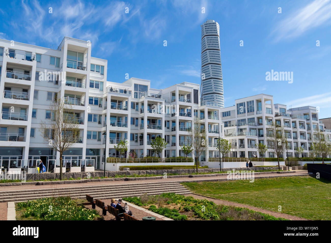 Modern architecture in Vastra Hamnen district, with the Turning Torso building from spanish arquitect Santiago Calatrav Stock Photo