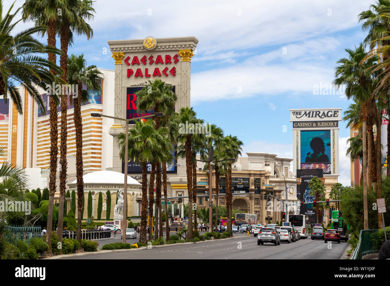 Las Vegas Strip, casino and hotels city view at daytime from the street. Caesars Palace hotel and casi Stock Photo
