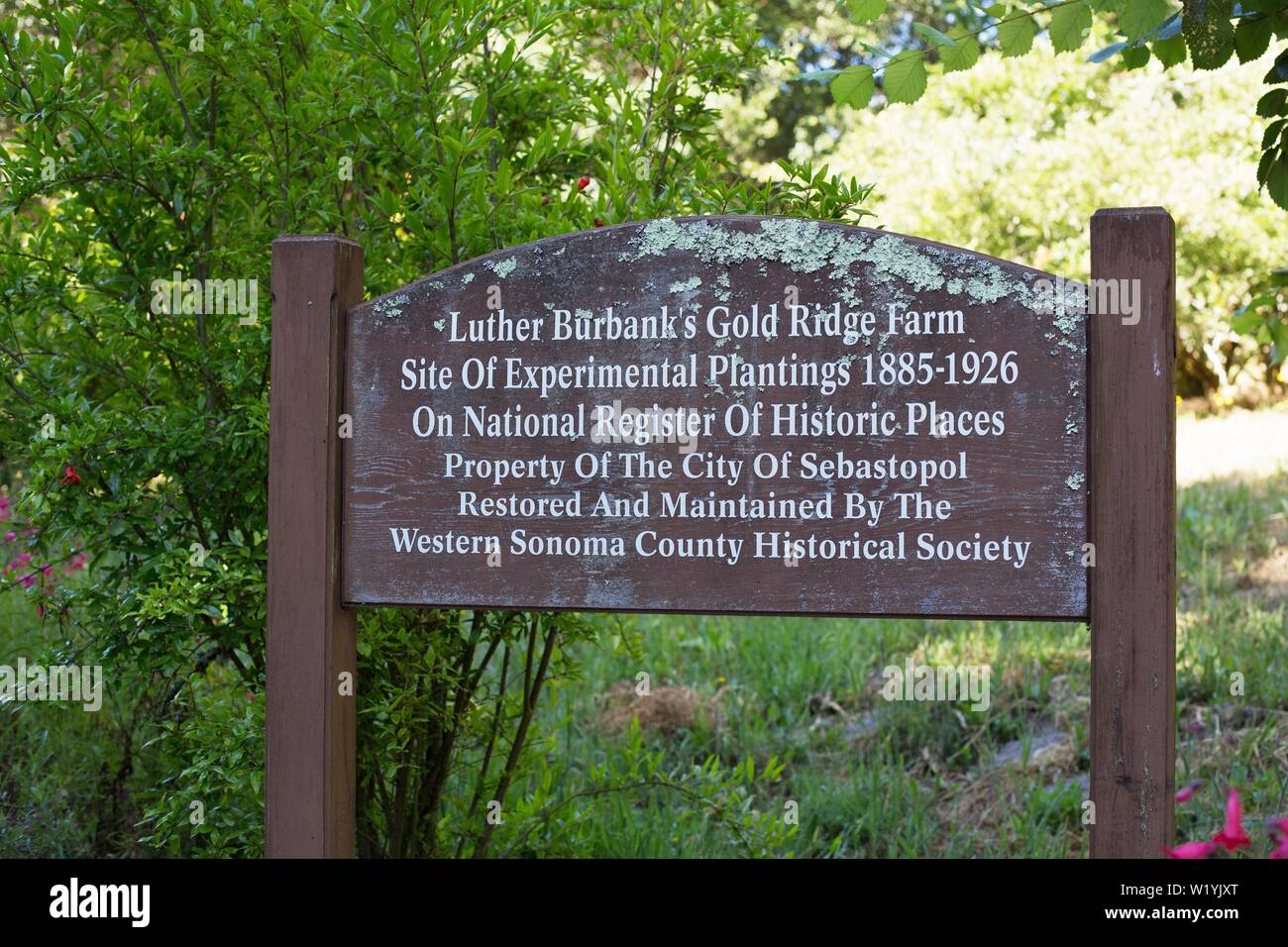A sign at the entrance to Luther Burbank's Experiment Farm in Sebastopol, CA, USA. - Stock Image