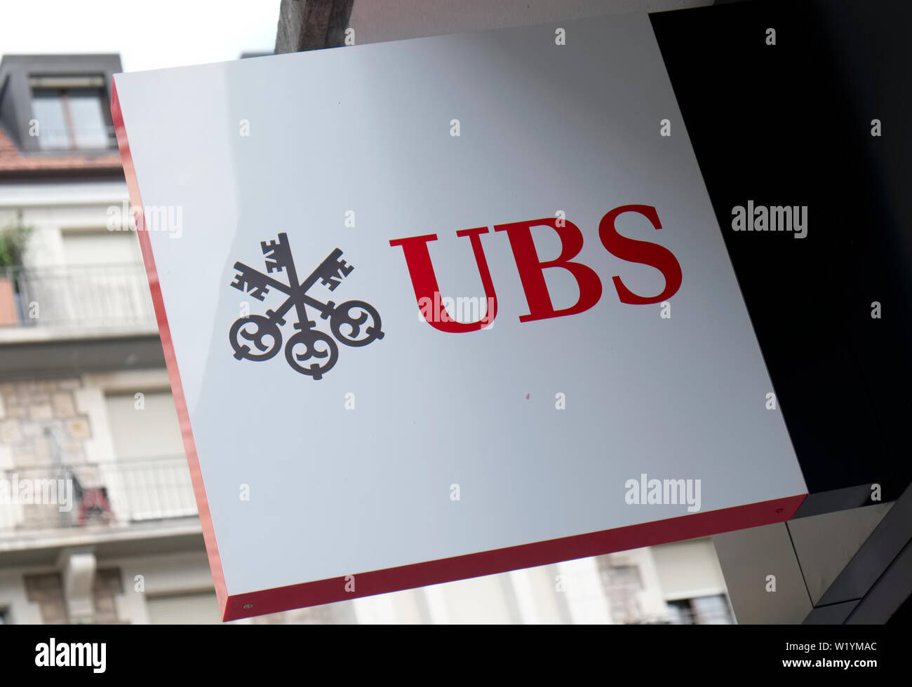 A sign for a branch of the UBS bank in Geneva Switzerland - Stock Image