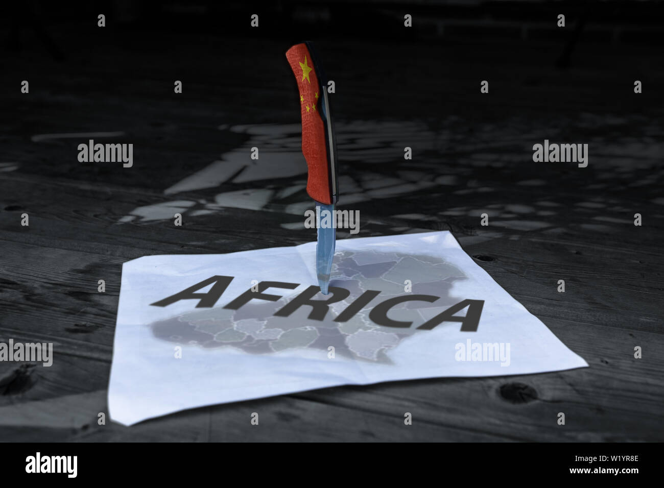A 'Chinese' dagger is planted in the heart of the African continent. - Stock Image