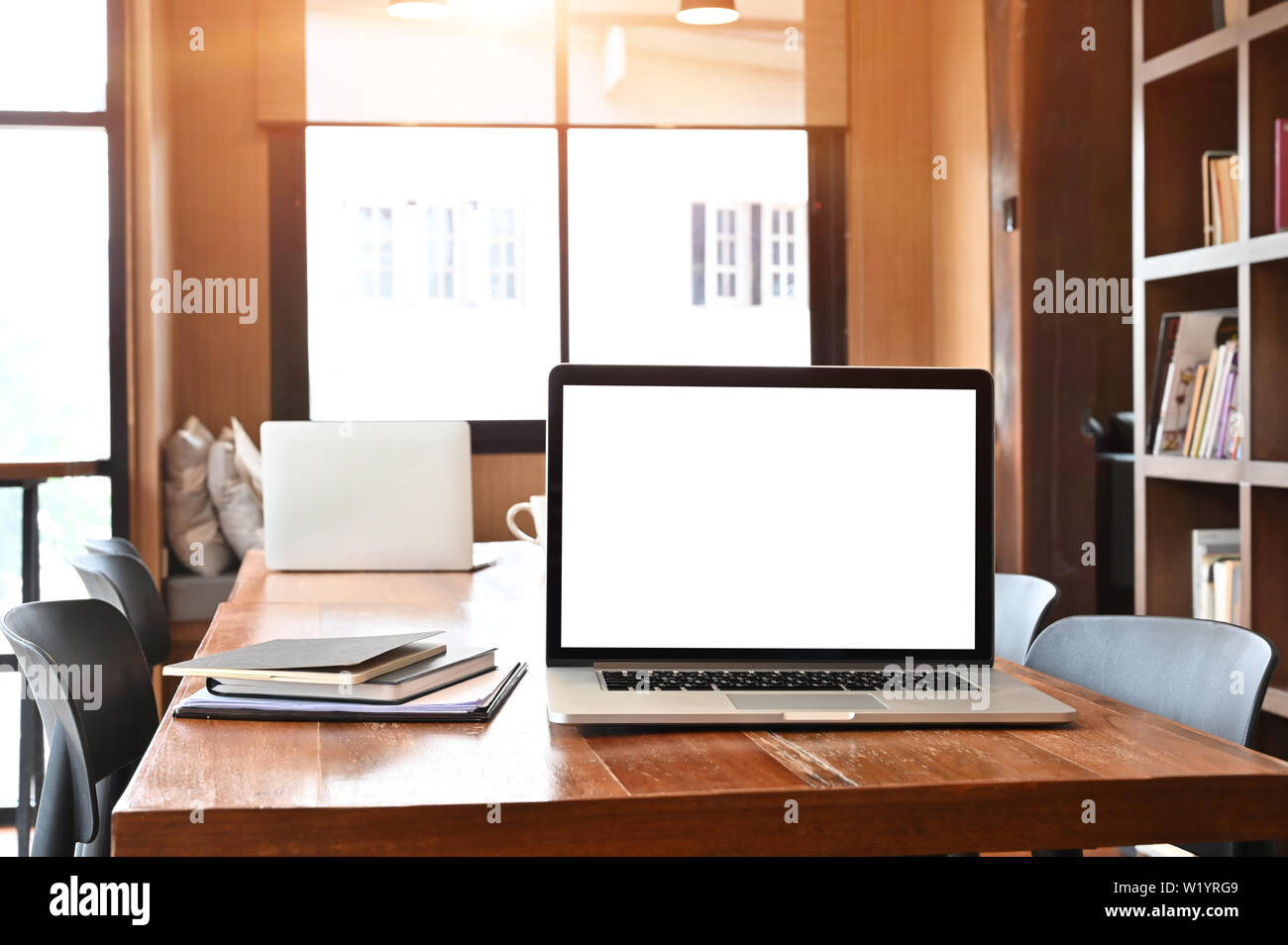 Laptop Computer Empty Screen On Wooden Table In Library Room Stock Photo Alamy