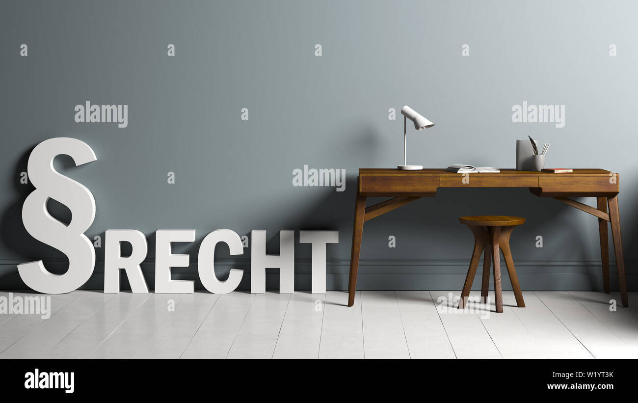3d Rendering Of Paragraph Symbols Standing And The German Word Law Besides A Desk Stock Photo Alamy
