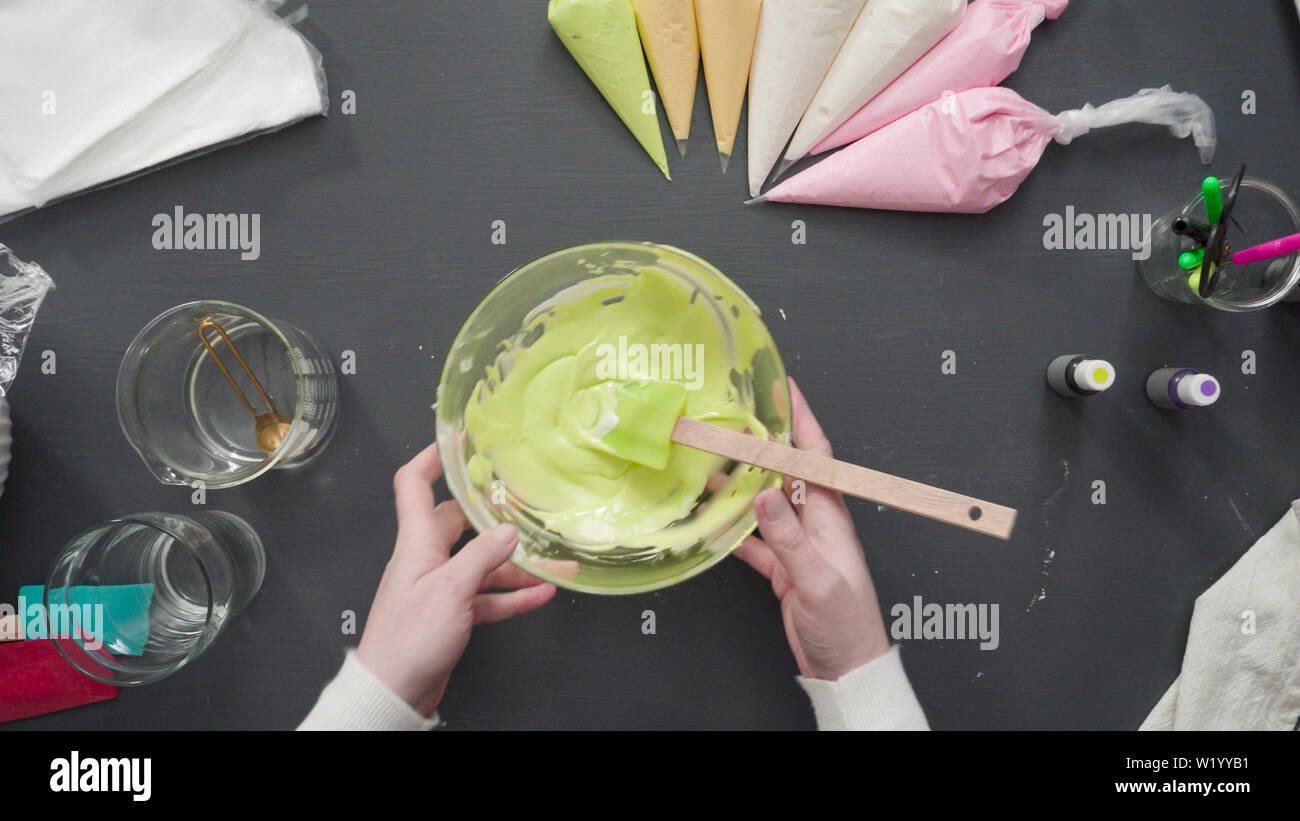 Step By Step Flat Lay Mixing In Food Coloring Into The