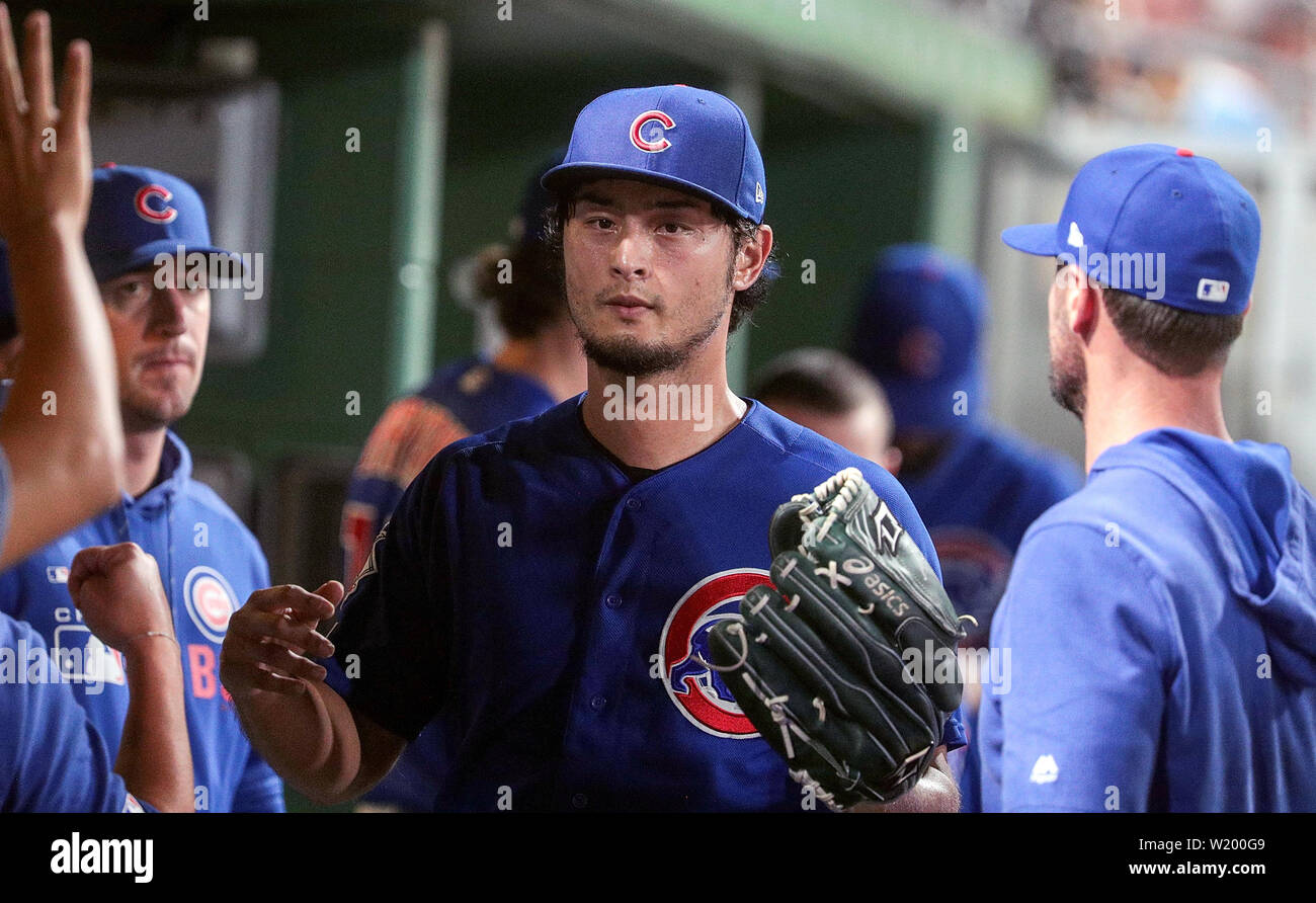 Pittsburgh, Pennsylvania, USA. 3rd July, 2019. Chicago Cubs starting pitcher Yu Darvish (11) in the dugout after being removed from the game after striking out 6 and allowing 4 earned runs during the Major League Baseball game between the Chicago Cubs and Pittsburgh Pirates at PNC Park, in Pittsburgh, Pennsylvania. (Photo Credit: Nicholas T. LoVerde/Cal Sport Media) Credit: csm/Alamy Live News - Stock Image
