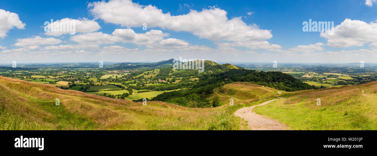 A panoramic view of the Malvern Hills and Colwall from the earthworks of British Camp Iron Age fort, Worcestershire, England - Stock Image