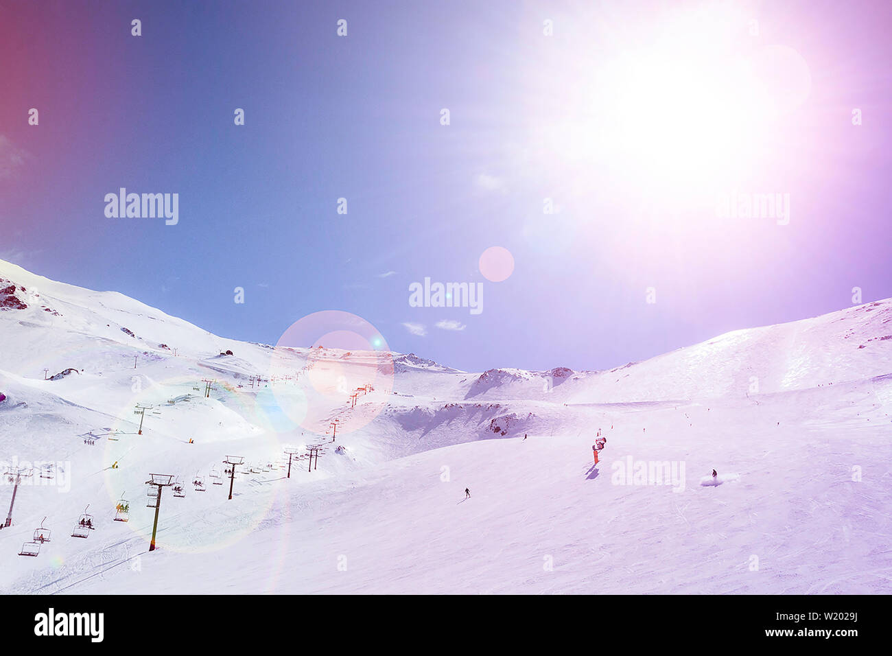 Snow Mountains in New Zealand atmosphere - Stock Image