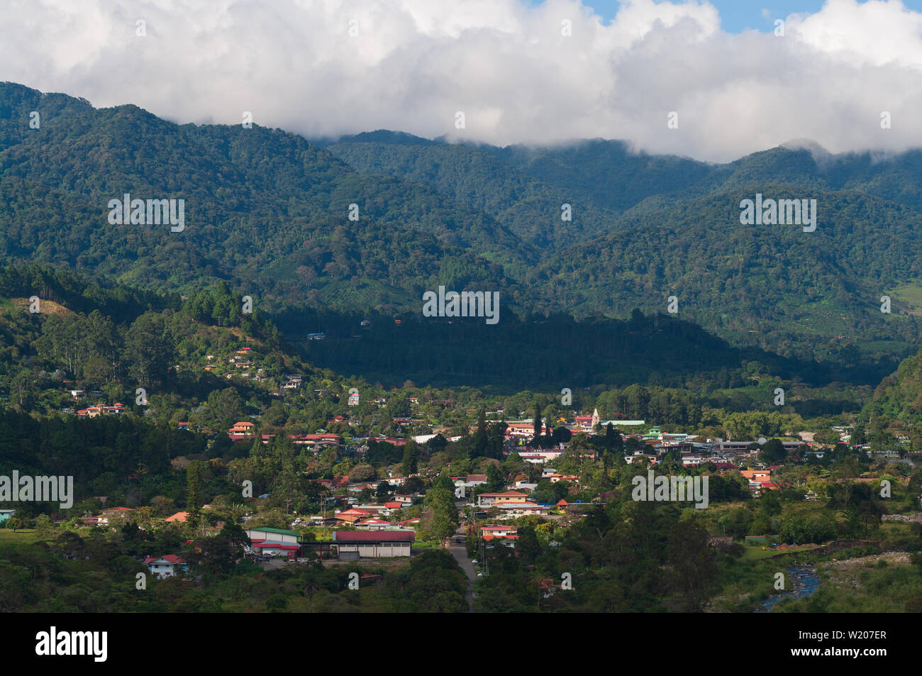 Image showing Boquete, a small town in the Chiriqui province of Panama. Boquete is known for its production of fine coffee. Stock Photo
