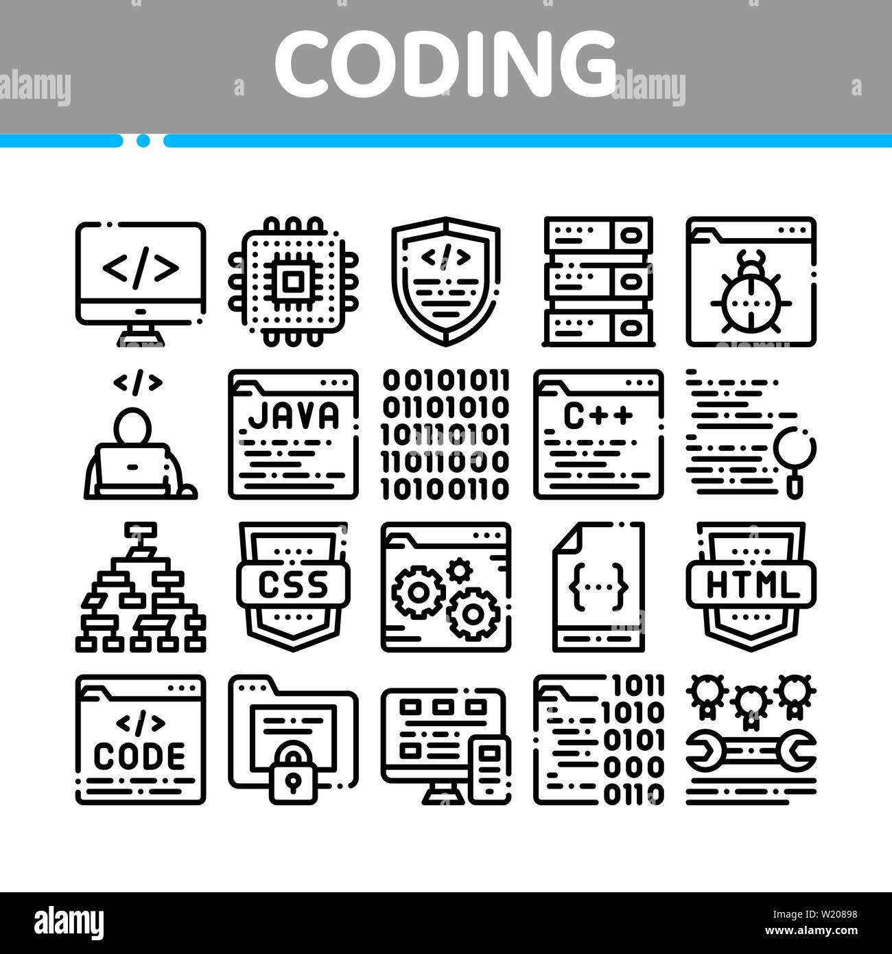 Coding System Vector Thin Line Icons Set - Stock Image