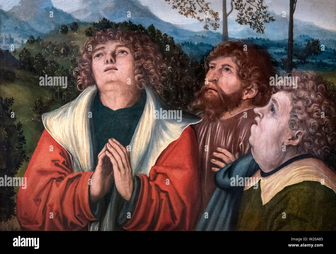 The Three Apostles (a fragment of a larger work), attributed to Lucas Cranach the Elder (1472-1553), oil on wood, c.1515-20 - Stock Image